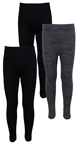 Real Love Girl's 3-Pack Extra Comfort Fleece Lined Thick Warm Winter Stretch Leggings-4-6X-BCB (Leggings Kids)