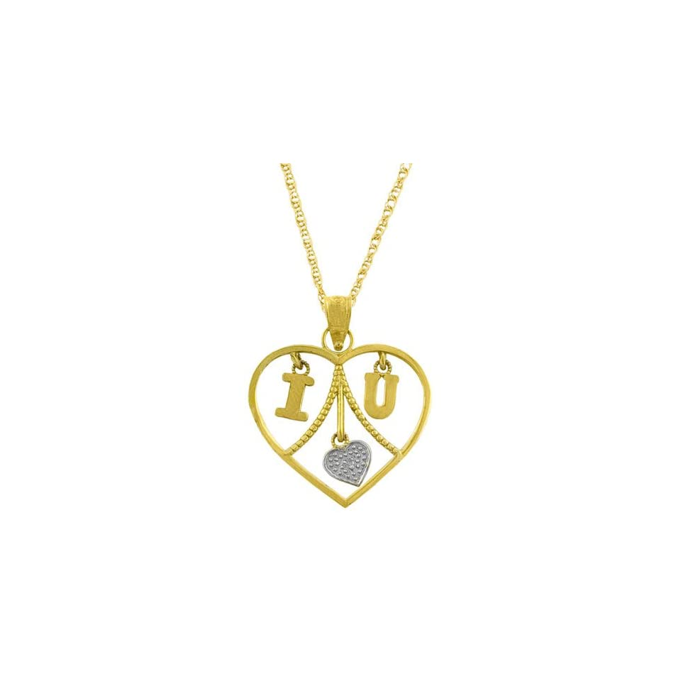 14 Karat Two Tone Gold Diamond Accent Heart Pendant With 18 inch Rope Chain