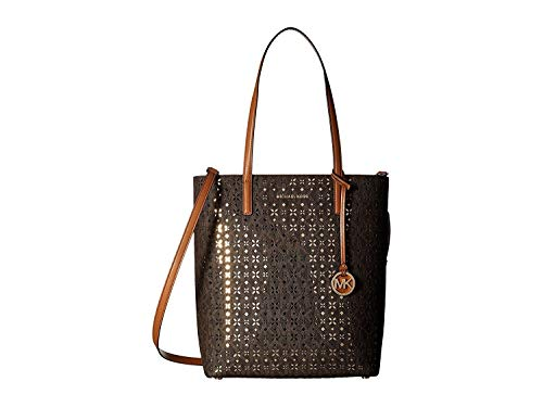 MICHAEL Michael Kors Hayley Large North South Top Zip Tote, Perforated Floral Design, Brown
