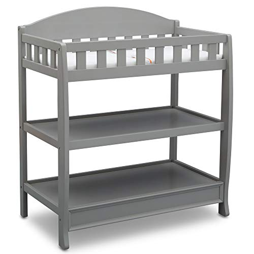 Delta Children Infant Changing Table with Pad, Grey and Waterproof Baby and Infant Diaper Changing Pad, Beautyrest Platinum, White by Delta Children (Image #4)