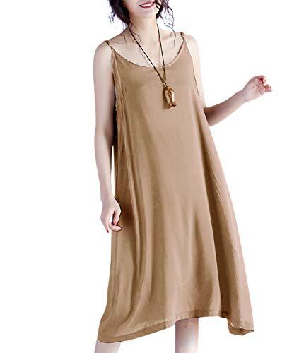YESNO JEL Women Casual Loose Slip T-Shirt Dresses Beach Cover up Plain Dress A Skirt Hemline (M, JEL Khaiki)
