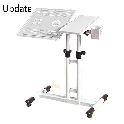 PAG 4 Wheels Laptop Desk Assemble Table Adjustable Hight and 360 Degree Rotatable Desktop Tray with 2 Laptop Cooling Pad ,White
