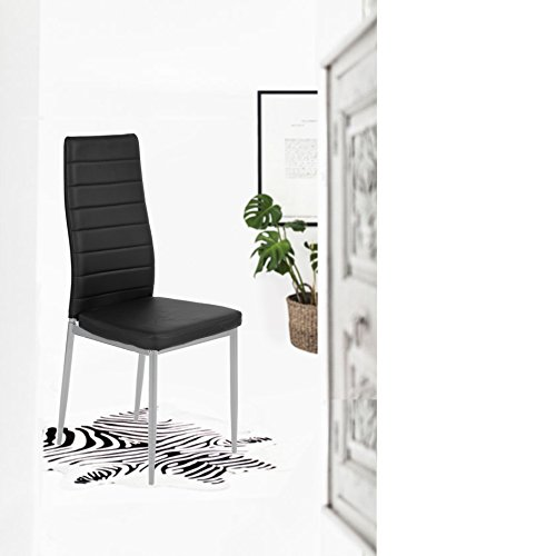 Chair Metal Black Frame (Set of 4 Silver Metal Frame Black Bonded Leather Dining Table Side Chair Kitchen)