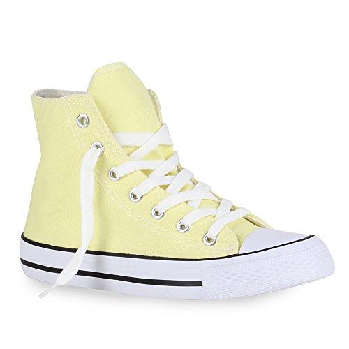 Damen Herren Unisex Sneaker High Schnürer Denim Sneakers Camouflage Sportschuhe Turnschuhe Glitzer Stoff Schuhe Übergrößen Flandell Gelb Weiss