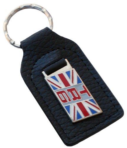 Triumph TR6 Union Jack Flag Leather and Enamel Key Ring Key Fob