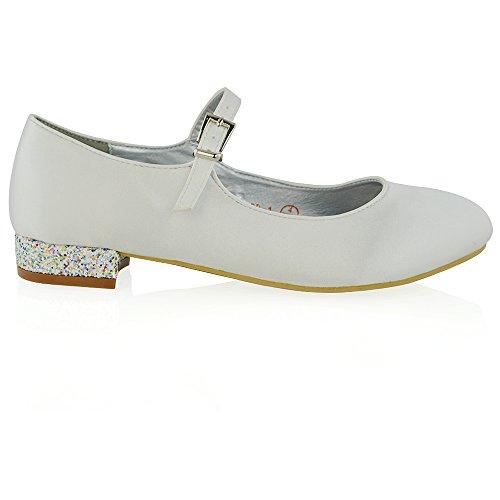 Essex Satin White Heel Low Heel Glitter Pumps Women's Satin Glam Bridal fIxOrqfwR