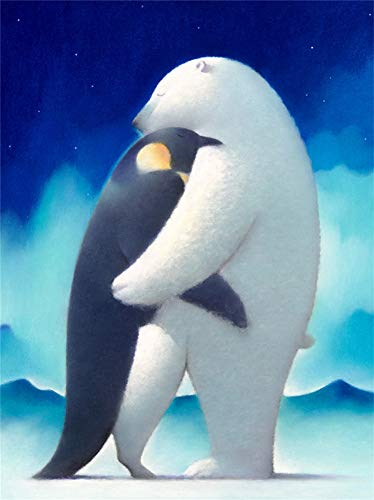 CaptainCrafts DIY 5d Diamond Painting by Number Kits Full Drill Diamond Painting - Penguin and Polar Bear Hug (12X16inch/30X40cm) Arts Craft Home Wall Decor