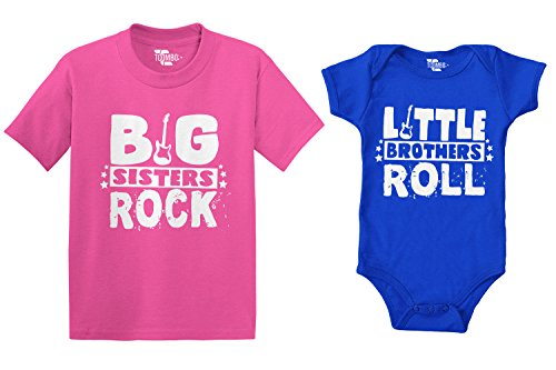 Big Rock Sisters (Big Sisters Rock/Little Brothers Roll Bodysuit and Kids T-Shirt 2 Pack (Pink/Royal, Newborn/5T))