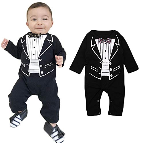 bba0dbfd7685 April Li Newborn Baby Boys Jumpsuit Formal Party Baptism Wedding Gentleman  Romper Bow Tie Long Sleeve
