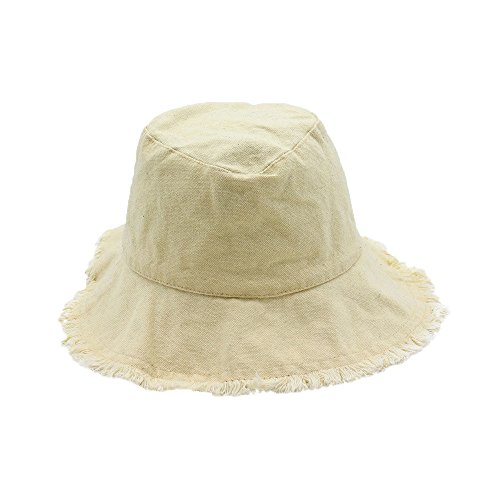 Bucket Hat for Women Ladies Foldable UV Protection Fringed Summer Sun Hat Cowboy Hats Beige DYPmqyKL