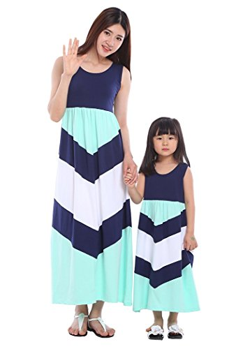 - Wennikids Cotton Material Mommy and Me Chevron Maxi Dress Navy Blue Children Small
