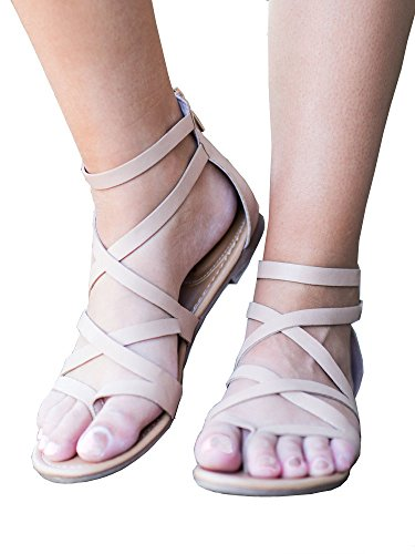 Strappy Zipper (ZuQing Womens Ankle Strap Flip Flop Cutout Strappy Bohemian Genuine Leather Flats Sandals With Zipper,8.5 B(M) US,Khaki)