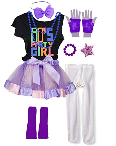 Kids 80s Party Girl Pop Rock Star Child Costume Accessories Fancy Outfits (10/12, Purple) -