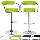 Kitchen Bar Stools Ikea Woltu ABSX1009agn-c Luxury Faux Leather Bar Stools Kitchen Stools Breakfast Barstools with Backs and Arms Gas Strut Adjustable 33-41.7x13.8x13.8in Apple Green Bar Stools set of 2