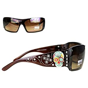 SGS-4109 Montana West Sugar Skull Collection Sunglasses UV 400 (Brown)