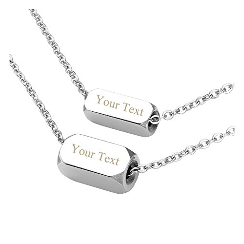 Jovivi Free Engraving - Personalized Custom Name Message Stainless Steel Solid Horizontal Bar Matching Necklaces for Couples Valentine's Day Gift(Silver) by Jovivi