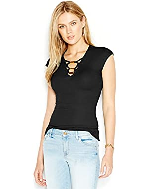 Guess V-Neck Embellished Cutout Top, Black X-Large
