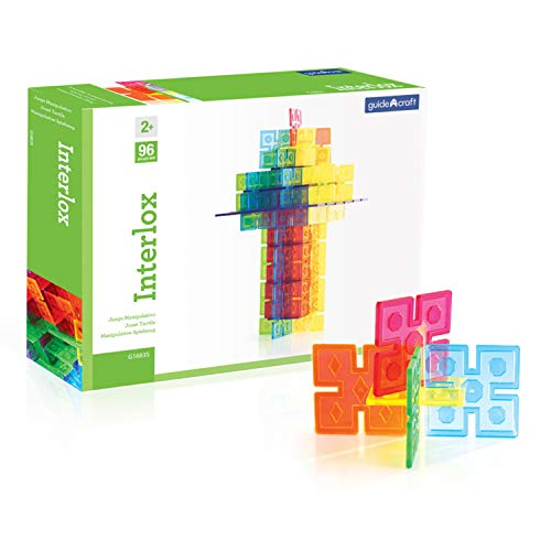 Guidecraft Interlox Squares - 96 Piece Set Interlocking Construction Toy