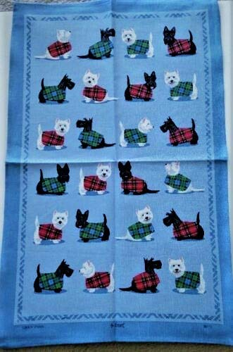 Samuel Lamont, Scottie & Westie (Dog), Blue Kitchen/Tea Towel, Imported, 100 Percent Cotton