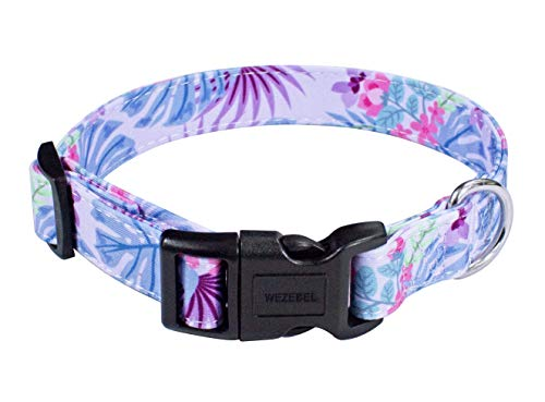 WEZEBEL Soft Girl Dog Collars, Durable Adjustable Buckle Collar for Small Medium Large Dogs (Purple Flowers Collar…