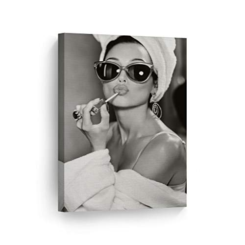 SmileArtDesign Audrey Hepburn Wall Art Makeup Canvas Print Iconic Pop Art Pretty Beauty Black and White Home Decor Artwork Gallery Stretched and Ready to Hang -%100 Handmade in The USA - 36x24 ()