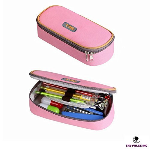SkyPulse Good Design Big Capacity Pencil Case Pencil Holder Practical Students Stationery (Pastel Rose Pink)