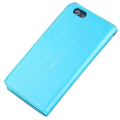 iPhone 6 Hülle,Apple iPhone 6 Hülle (5.5 Zoll) Lifetrut®[Blau] Flip Case mit lebenslanger Garantie + Kartenfächern & Standfunktion
