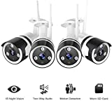 Outdoor Security Camera, 1080P Surveillance Cameras Outdoor WiFi Camera Two-Way Audio, IP66 Waterproof, FHD Night Vision, Motion Detection Camera with Cloud Storage for Videos (4 Pack)