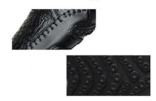 Onfly Bomba Mocasín Ponerse Negocio Casual Cuero Zapatos Pedal Zapatos Hombres Moda Color puro Antideslizante Velcro Patrón de piel de serpiente Grabado en relieve Zapatos perezosos Conducción Zapatos brown plus cashmere +5 yuan
