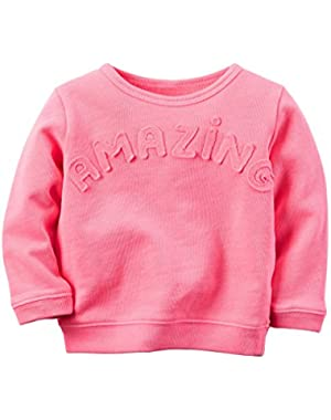 Girl L/S Amazing French Terry Pullover; Pink, 9 Months