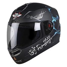 Steelbird SBA-1 Mahadev Full Face Helmet in Matt Finish with Plain Visor (Large 600 MM, Black/Blue)