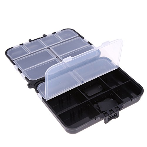 Smartcoco Portable Double layer Multifunctional Fishing Box Accessories Storage Box With Independent Compartment Black