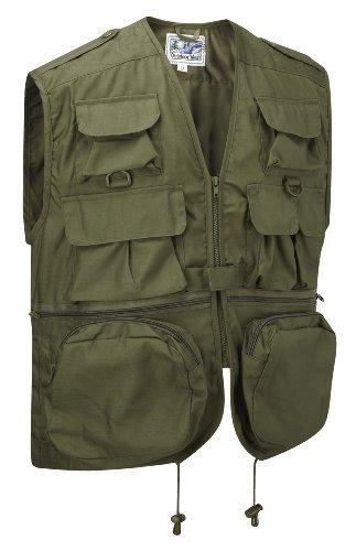 Multi-Pocket Vest Waistcoat Gilet (L, Olive)