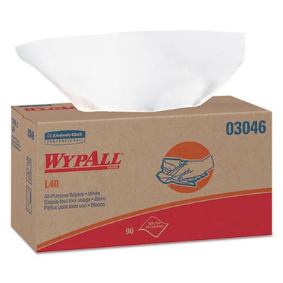 WypAll 03046 L40 Wipers, POP-UP Box, White, 10 4/5 x 10, 90/Box, 9 Boxes/Carton ()
