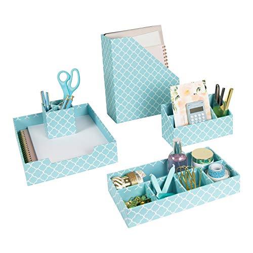 Blu Monaco Teal Desk Organizers and Accessories for Women – 4 Piece Desktop Cubicle Decor Set – Letter – Mail Organizer…