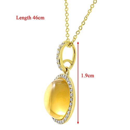 Revoni Bague en or jaune 9carats et diamant ronde 2,80carats Citrine Pendentif en Pierre avec chaîne de 46cm