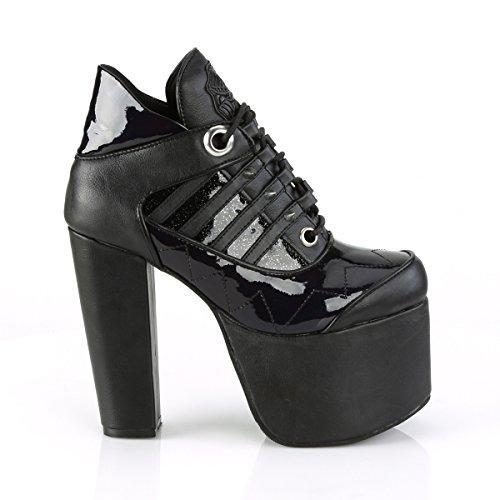 Higher Heels Demonia Damen Gothic Glitter Stiefeletten Boots Torment-216 Schwarz Glitter Schwarz