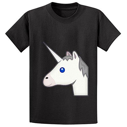 Unicorn Emoji Teen Crew Neck Short Sleeve T Shirts (Halloween Brownie Graveyard)