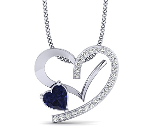 Fehu Jewel 1/8ct Natural Diamond Gold Plated Silver Blue Heart Shape Stone Heart Pendant