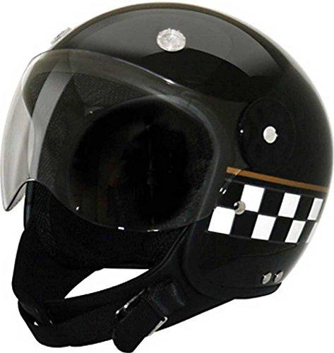 HCI Black Checkerboard Open Face Motorcycle Helmet w/ Face Shield 15-310 (Checkerboard Face)