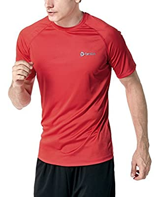 CLSL TM-MTS03-ORG_Small Tesla Men's HyperDri Short Sleeve T-Shirt Athletic Cool Running Top MTS03