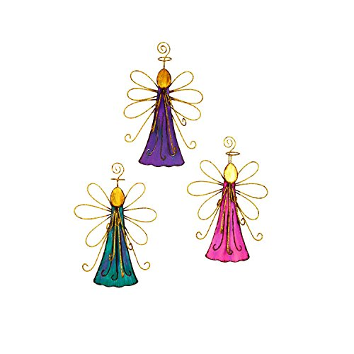The Round Top Collection Jeweled Angels Ornaments - Assorted Set of 3 -Metal (Susan Winget Angel Ornament)