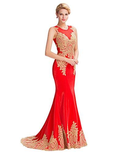 para Sin mangas ajustado Dress Belle Vestido Long rojo Prom mujer xXnpwnq0F