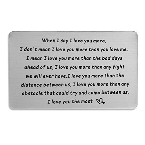 PLITI Engraved Wallet Insert Card for Men Metal Wallet Love Note Card When I Say I Love You More Metal Wallet Card for Men (Whe I Say Love U Key) (Love You More Card)