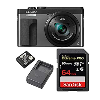 Panasonic Lumix DMC-ZS70S 20.3 Megapixel 4K Digital Camera (Silver) w/ 64GB SD Card & Lumix Battery & Charger Travel Bundle