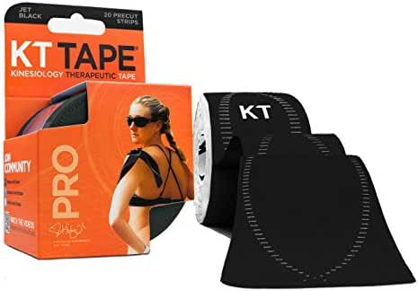 KT TAPE PRO Elastic Kinesiology Therapeutic Tape, 20 Pre-Cut 10-Inch Strips, 100% Synthetic, Water Resistant, Breathable, Free Application Videos, Pro and Olympic Sports Athletes' Choice for Pain Relief & Injury Recovery