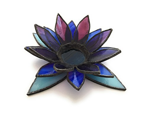 Stained Glass Christmas Candles - Blue and Purple Lotus Stained Glass Candle Holder