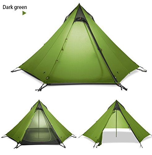 Dark green pyramid tent.