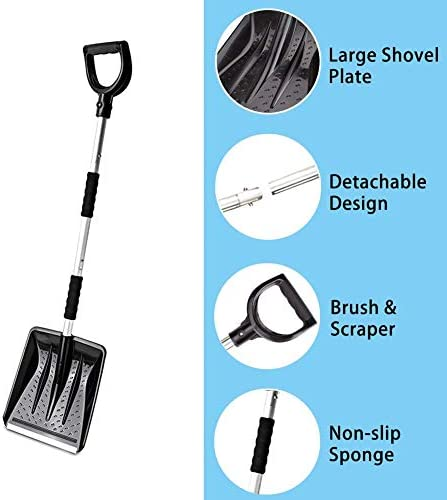 LIUHE Snow Shovel Snow Brush 3 Piece Ice Scraper Detachable 3 in 1 Multi-Functional Winter Snow Shovel Suit for Car, Truck, Camping, Outdoor Activities (Silver)