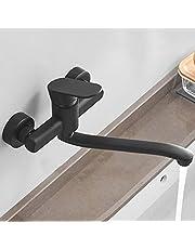 HomeLava kraan keuken eengreeps spoelbakmengkraan wandmontage wandmengkraan hoogwaardige messing body keukenmengkraan zwart projectie 200 mm